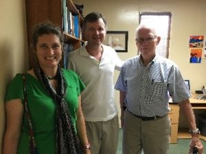 Pastor Steve Gunn (middle) shared about Crossroads Bible Church's role in the school.